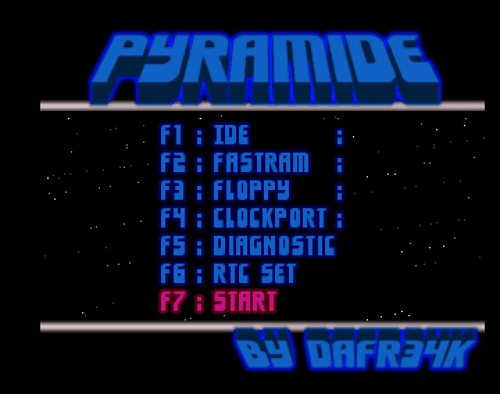 Boot menu PyRamIDE pour Amiga CD32